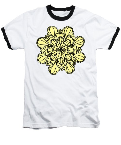 Lemon Lily Mandala Baseball T-Shirt by Georgiana Romanovna