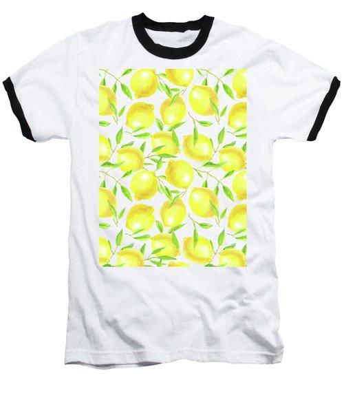 Lemons And Leaves  Pattern Design Baseball T-Shirt