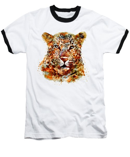 Leopard Head Watercolor Baseball T-Shirt
