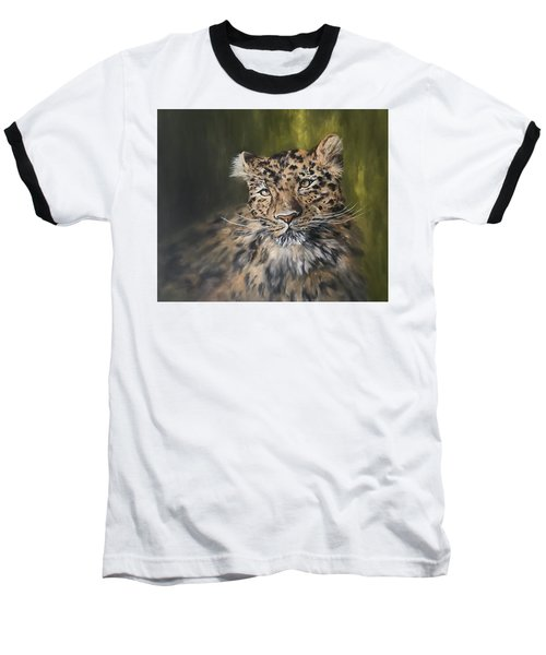 Leopard Relaxing Baseball T-Shirt by Jean Walker