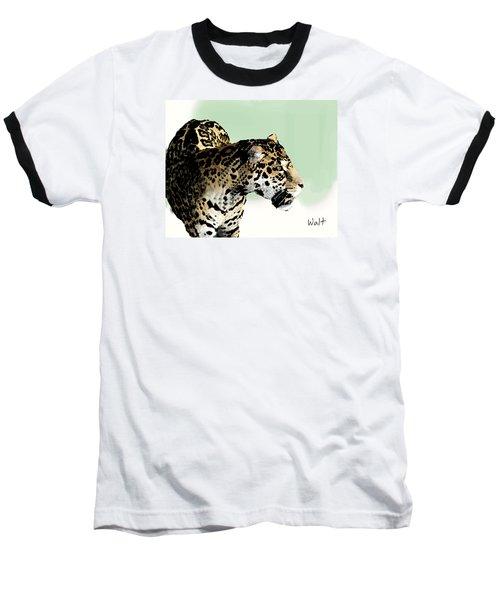Baseball T-Shirt featuring the digital art Leopard by Walter Chamberlain