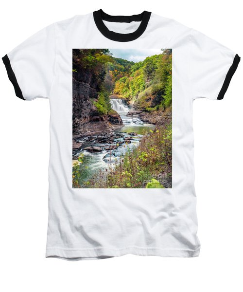 Letchworth Lower Falls In Autumn Baseball T-Shirt