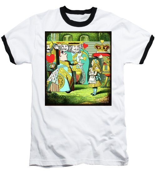 Lewis Carrolls Alice, Red Queen And Cards Baseball T-Shirt