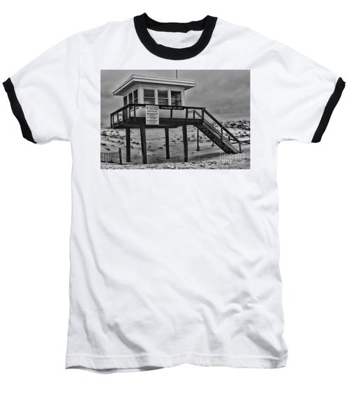 Lifeguard Station 1 In Black And White Baseball T-Shirt by Paul Ward
