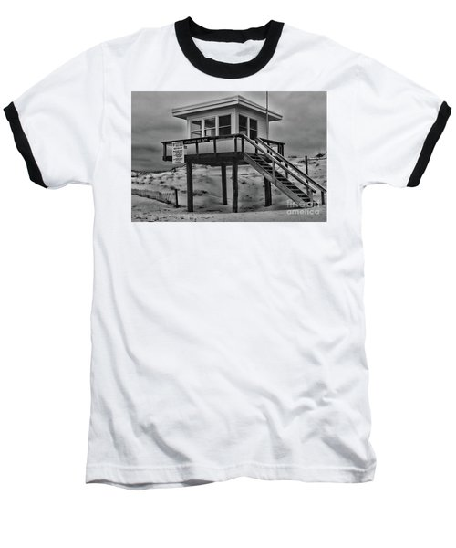 Lifeguard Station 2 In Black And White Baseball T-Shirt by Paul Ward
