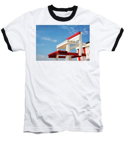 Lifeguard Station Baseball T-Shirt by Marion McCristall