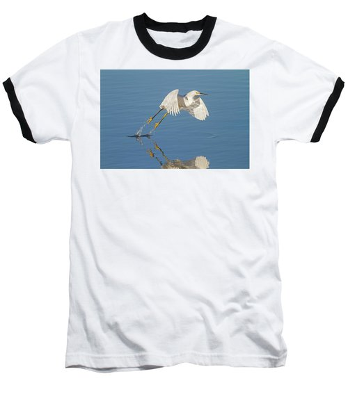 Lift Off- Snowy Egret Baseball T-Shirt