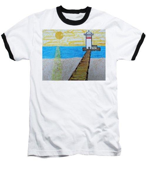 Lighthouse And Yellow Sun Baseball T-Shirt