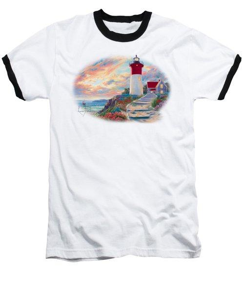 Lighthouse At Sunset Baseball T-Shirt
