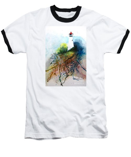 Baseball T-Shirt featuring the painting Lighthouse I - Original Sold by Therese Alcorn
