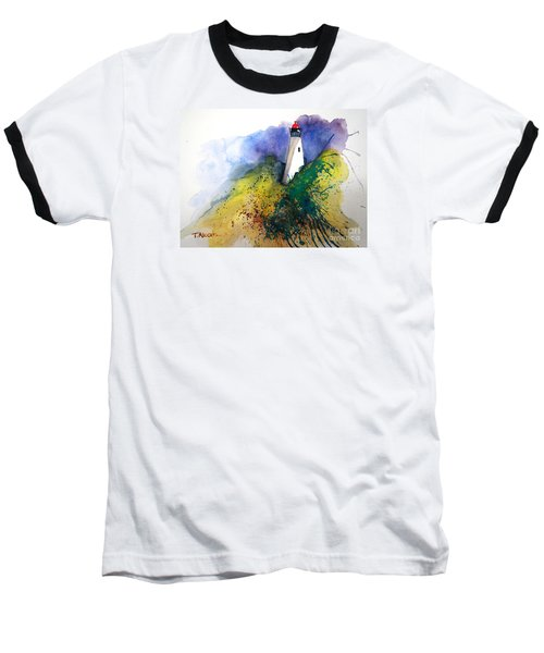 Baseball T-Shirt featuring the painting Lighthouse IIi - Original Sold by Therese Alcorn