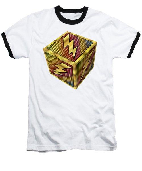 Lightning Bolt Cube - Transparent Baseball T-Shirt