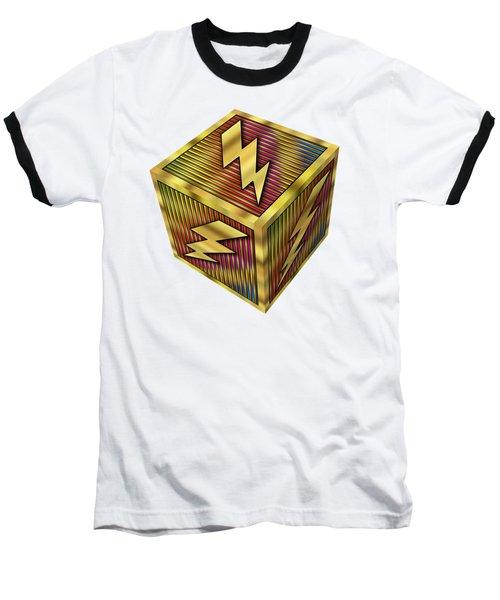 Baseball T-Shirt featuring the digital art Lightning Bolt Cube - Transparent by Chuck Staley