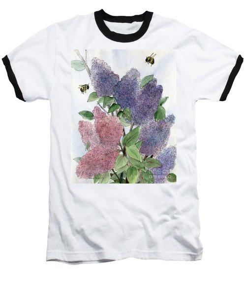 Lilacs And Bees Baseball T-Shirt