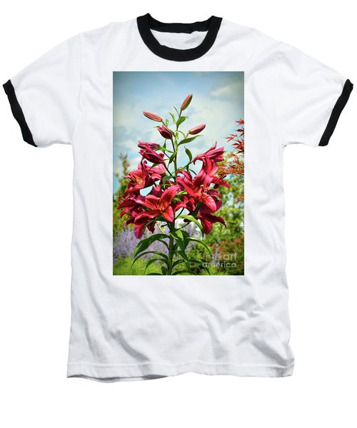 Baseball T-Shirt featuring the photograph Lilies In The Garden by Kerri Farley