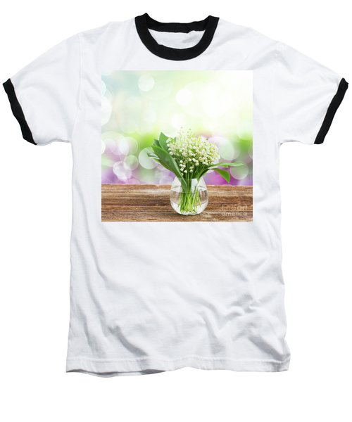 Lilly Of Valley Posy In Glass Baseball T-Shirt