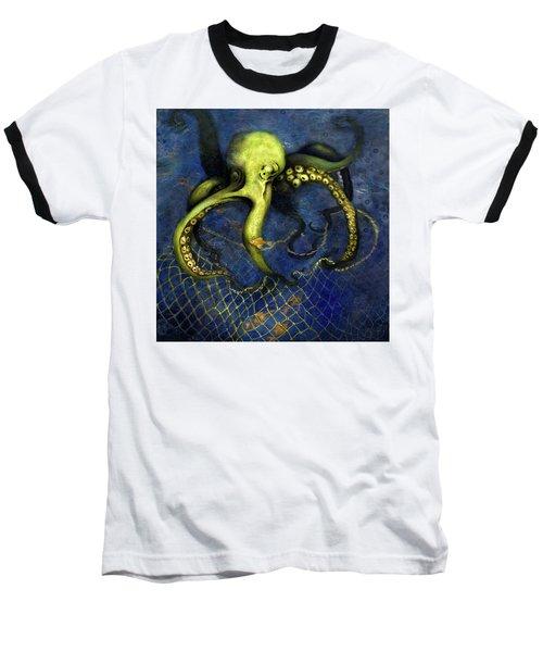 Lime Green Octopus With Net Baseball T-Shirt