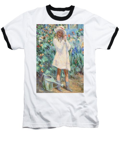 Little Girl With Roses / Detail Baseball T-Shirt by Pierre Van Dijk