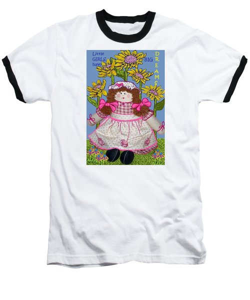 Baseball T-Shirt featuring the mixed media Little Girls Have Big Dreams by Suzanne Theis