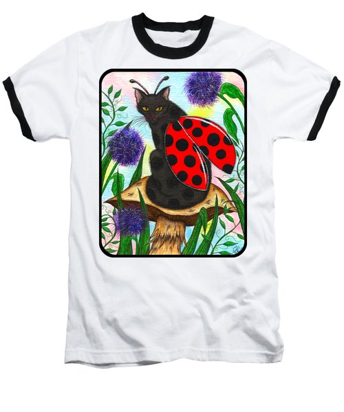 Logan Ladybug Fairy Cat Baseball T-Shirt by Carrie Hawks