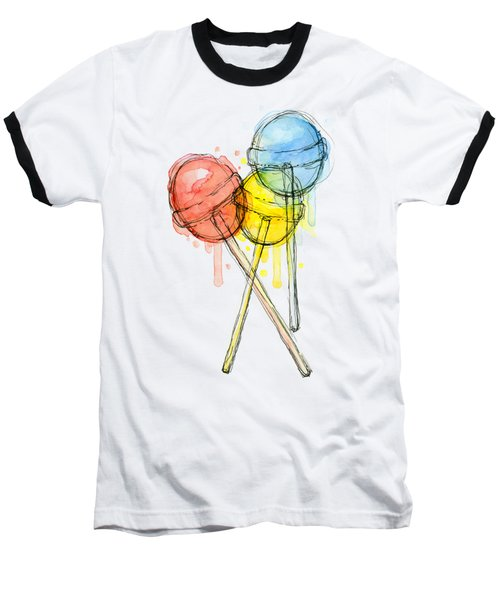 Lollipop Candy Watercolor Baseball T-Shirt