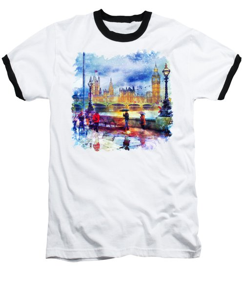 London Rain Watercolor Baseball T-Shirt by Marian Voicu