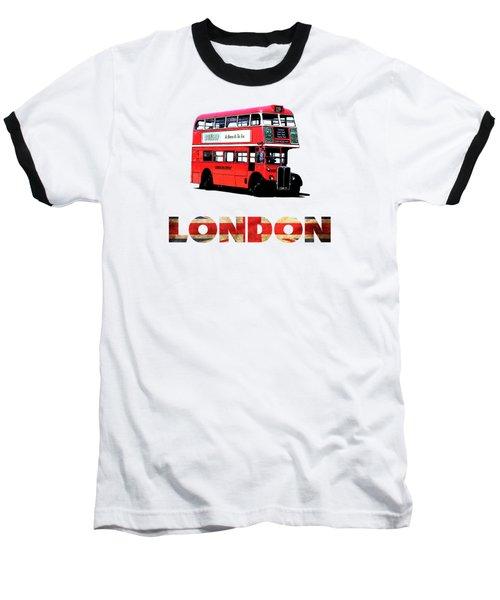 London Red Double Decker Bus Tee Baseball T-Shirt by Edward Fielding