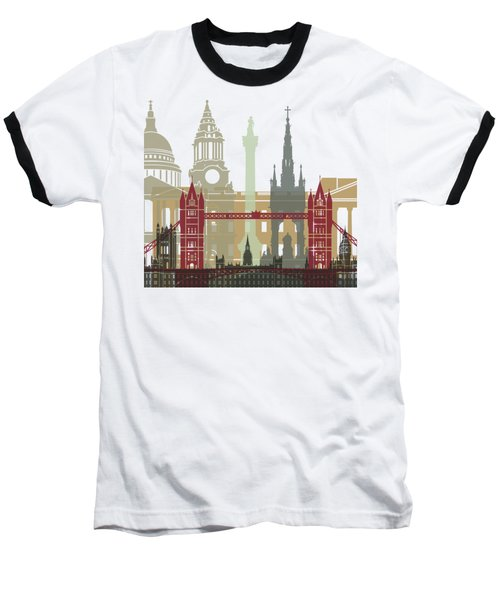 London Skyline Poster Baseball T-Shirt by Pablo Romero