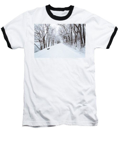 Lonely Snowy Road Baseball T-Shirt