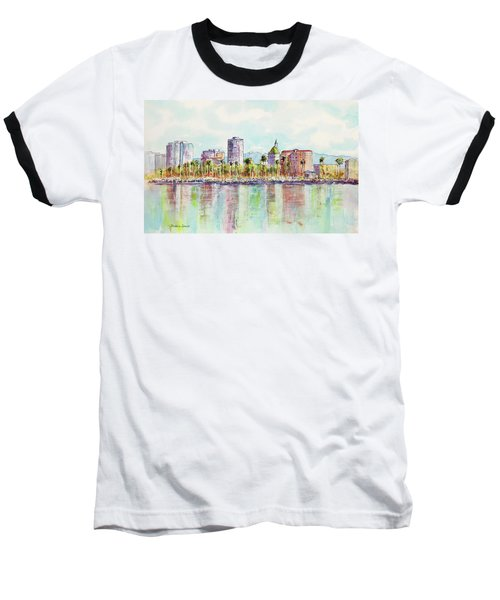 Long Beach Coastline Reflections Baseball T-Shirt
