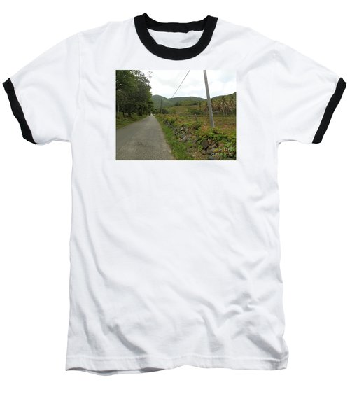 Long Road Into Colombier Baseball T-Shirt by Margaret Brooks