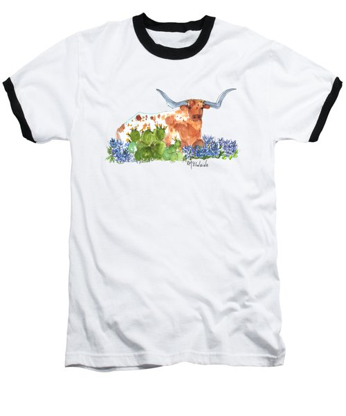 Longhorn In The Cactus And Bluebonnets Lh014 Kathleen Mcelwaine Baseball T-Shirt by Kathleen McElwaine