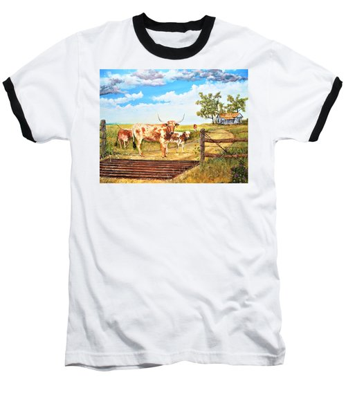 Longhorn Stand Off Your Place Or Mine Baseball T-Shirt