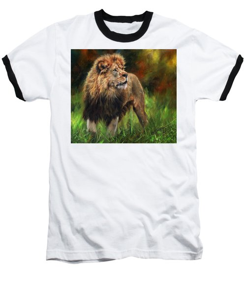 Look Of The Lion Baseball T-Shirt by David Stribbling
