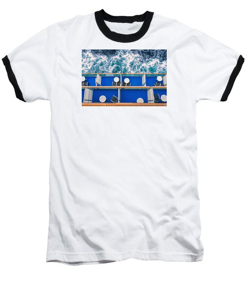 Baseball T-Shirt featuring the photograph Looking Down At Sea by Lewis Mann