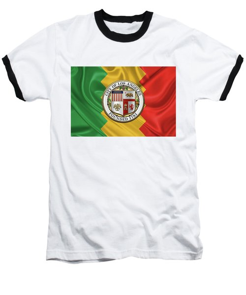 Los Angeles City Seal Over Flag Of L.a. Baseball T-Shirt