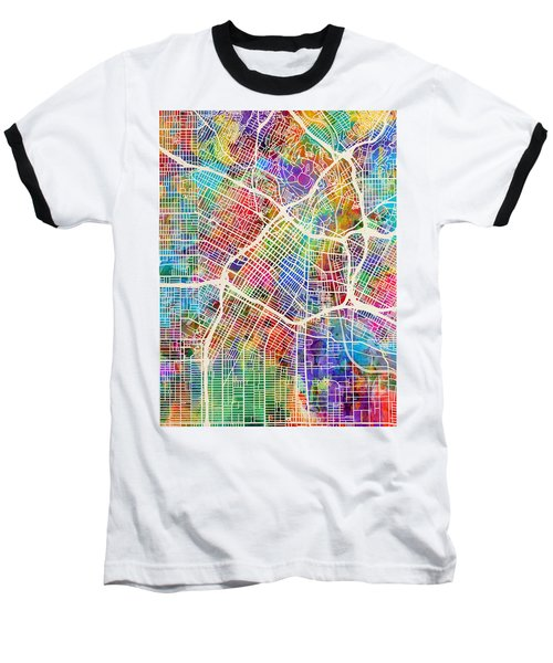 Los Angeles City Street Map Baseball T-Shirt