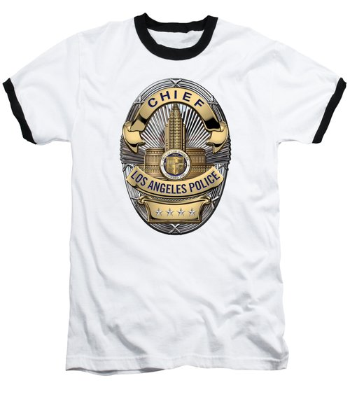 Los Angeles Police Department  -  L A P D  Chief Badge Over White Leather Baseball T-Shirt