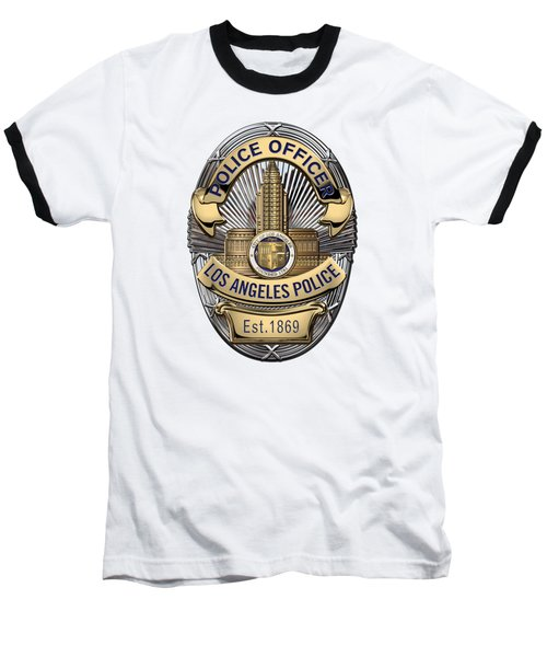 Los Angeles Police Department  -  L A P D  Police Officer Badge Over White Leather Baseball T-Shirt