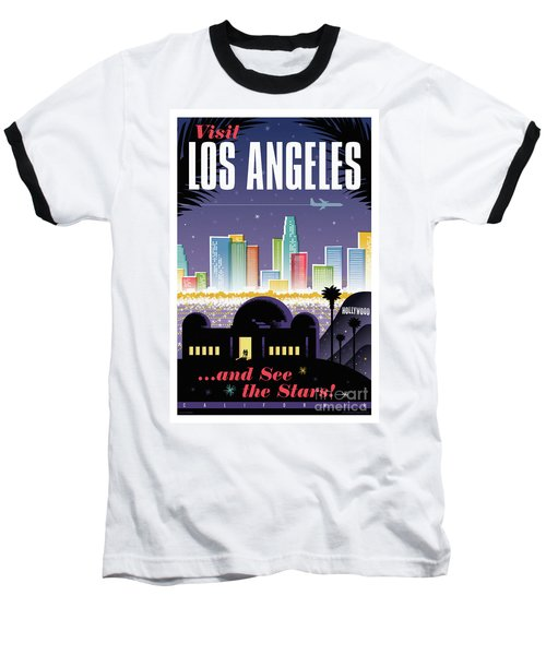 Los Angeles Retro Travel Poster Baseball T-Shirt by Jim Zahniser