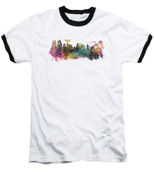 Los Angeles Skyline Baseball T-Shirt by Justyna JBJart