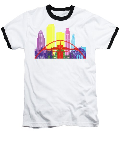 Los Angeles Skyline Pop Baseball T-Shirt by Pablo Romero