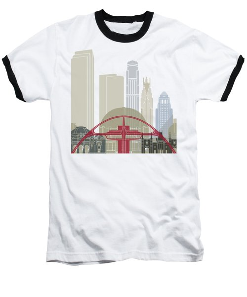 Los Angeles Skyline Poster Baseball T-Shirt by Pablo Romero