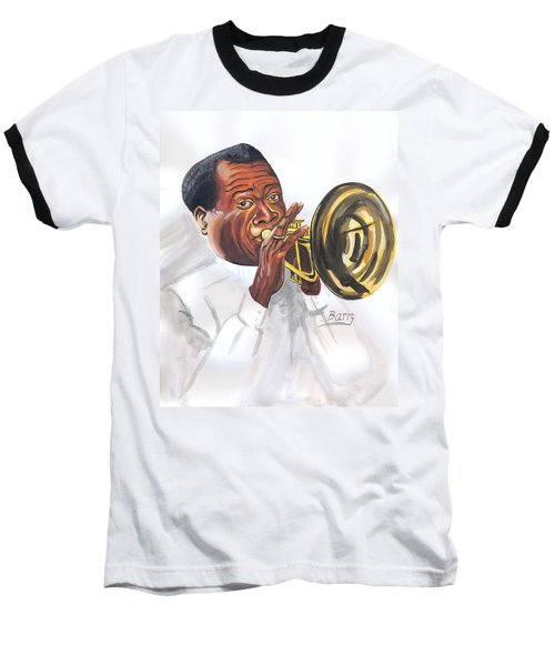 Baseball T-Shirt featuring the painting Louis Armstrong by Emmanuel Baliyanga