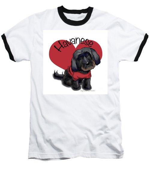Lovable Black Havanese Baseball T-Shirt