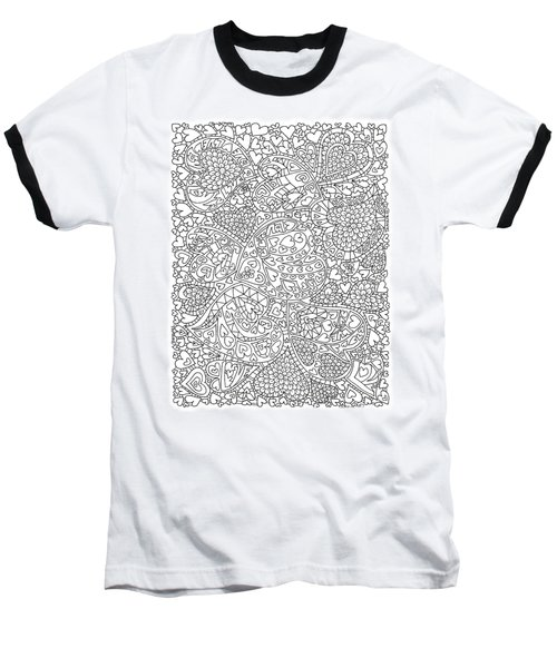Love And Chrysanthemum Filled Hearts Vertical Baseball T-Shirt by Tamara Kulish