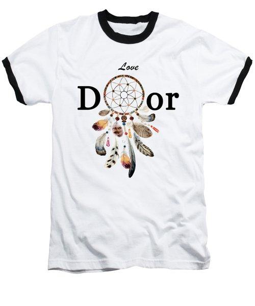 Baseball T-Shirt featuring the painting Love Dior Watercolour Dreamcatcher by Georgeta Blanaru