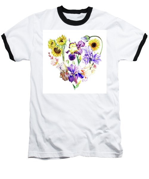 Baseball T-Shirt featuring the painting Love Flowers by Irina Sztukowski