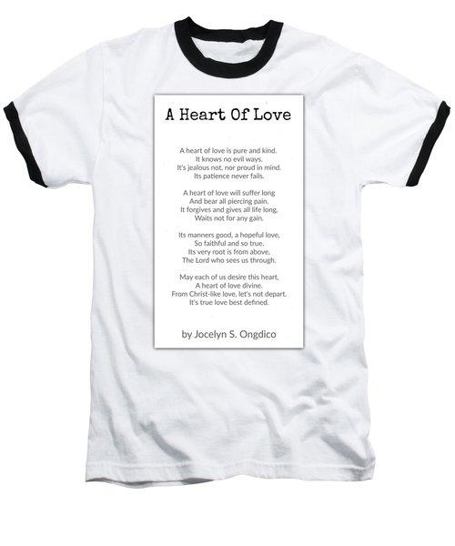 Love Heart Baseball T-Shirt by David Norman