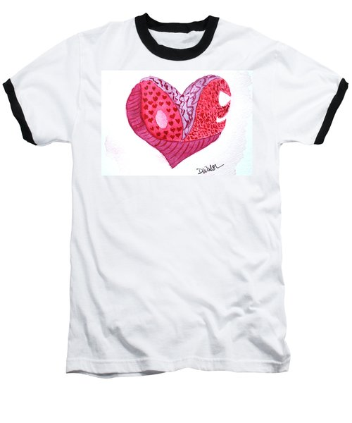 Baseball T-Shirt featuring the painting Love Heart by Donna Walsh